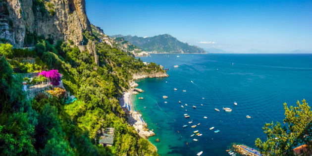 Panoramic view of famous Amalfi Coast with beautiful Gulf of Salerno, Campania, Italy