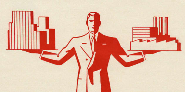 Vintage illustration of businessman holding office building and factory, 1948. Lithograph. (Illustration by GraphicaArtis/Getty Images)