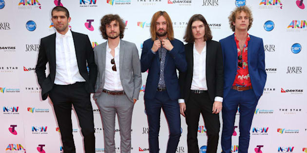 SYDNEY, AUSTRALIA - NOVEMBER 26:  Tame Impala arrives for the 29th Annual ARIA Awards 2015 at The Star on November 26, 2015 in Sydney, Australia.  (Photo by Graham Denholm/Getty Images)