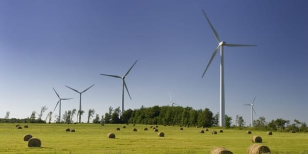 Electricity generating wind turbines in Shelburne, Ontario.