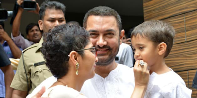 MUMBAI,INDIA JULY 18: Aamir Khan with wife Kiran Rao and son celebrating Eid in Mumbai.(Photo by Milind Shelte/India Today Group/Getty Images)