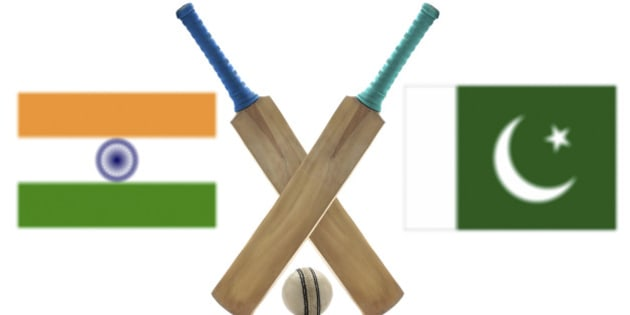 India vs Pakistan Cricket Match concept with their countries flag