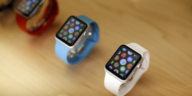 Apple Watches are displayed at an Apple store on Chicago's Magnificent Mile Friday, Sept. 25, 2015, in Chicago. (AP Photo/Kiichiro Sato)