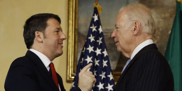 U.S. Vice-President Joe Biden, right, meets Italian Premier Matteo Renzi at Villa Taverna US Ambassador's residence in Rome, Friday, Nov. 27, 2015. Biden is on a four day visit to Europe.  He travelled first to Croatia before arriving in Rome in time to celebrate Thanksgiving. (AP Photo/Gregorio Borgia)