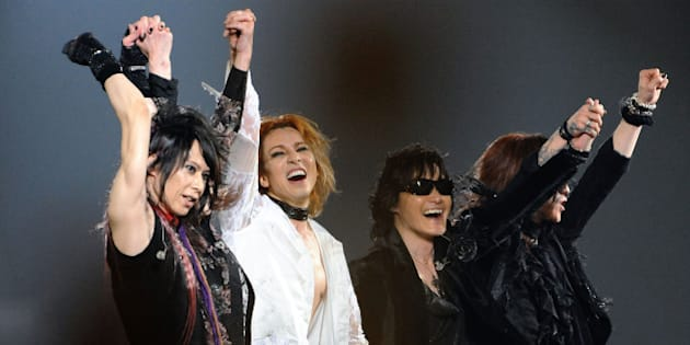 TOKYO - MAY 03: Musicians Heath, Yoshiki, Toshi and Sugizo perform during the X Japan World Tour Live in Tokyo - the Eighteenth Night at Tokyo Dome on May 3, 2009 in Tokyo, Japan. (Photo by Jun Sato/ WireImage)