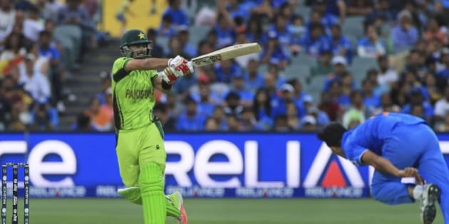 Pakistan's Ahmed Shehzad plays a shot during the World Cup Pool B match against India in Adelaide, Australia, Sunday, Feb. 15, 2015. (AP Photo/James Elsby)