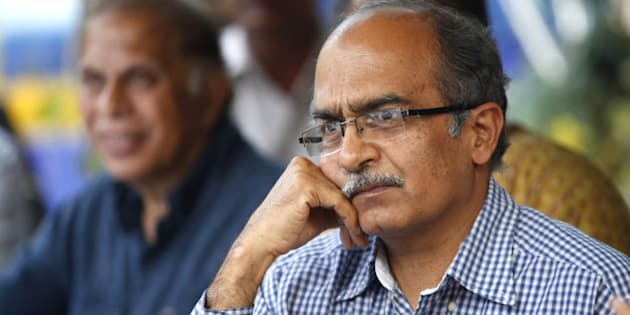 NEW DELHI, INDIA - APRIL 15: Dissident AAP leader  Prashant Bhushan during a press conference at the Press Club of India on April 15, 2015 in New Delhi, India. Dissident AAP leaders said that Swaraj Samvad was neither a political party nor an NGO, clarifying that he and Prashant Bhushan were still a part of the Aam Aadmi Party. (Photo by Ajay Aggarwal/ Hindustan Times via Getty Images)