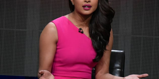 """Priyanka Chopra speaks onstage during the """"Quantico"""" panel at the Disney/ABC Summer TCA Tour held at the Beverly Hilton Hotel on Tuesday, August 4, 2015 in Beverly Hills, Calif. (Photo by Richard Shotwell/Invision/AP)"""