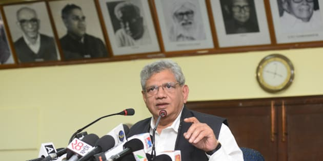 NEW DELHI, INDIA - NOVEMBER 17: Communist Party of India General Secretary Sitaram Yechury addressing the media conference on November 17, 2015 in New Delhi, India. (Photo by Ramesh Pathania/Mint via Getty Images)