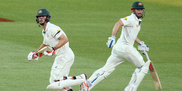 ADELAIDE, AUSTRALIA - NOVEMBER 29:  Brothers, Mitch Marsh and Shaun Marsh run between the wickets during day three of the Third Test match between Australia and New Zealand at Adelaide Oval on November 29, 2015 in Adelaide, Australia.  (Photo by Morne de Klerk/Getty Images)