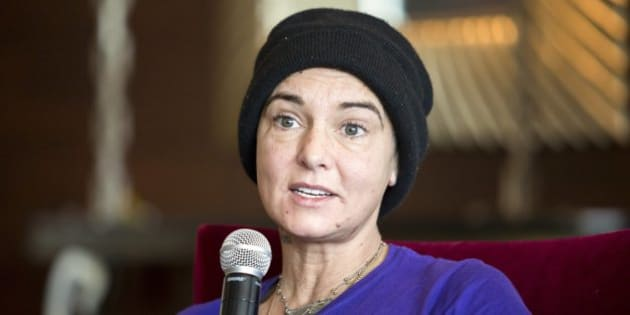 Irish singer-songwriter Sinead O'Connor attends a press event during the Budapest Spring Festival at a hotel in Budapest, Hungary, Wednesday, April 22, 2015. (Balazs Mohai/MTI via AP)