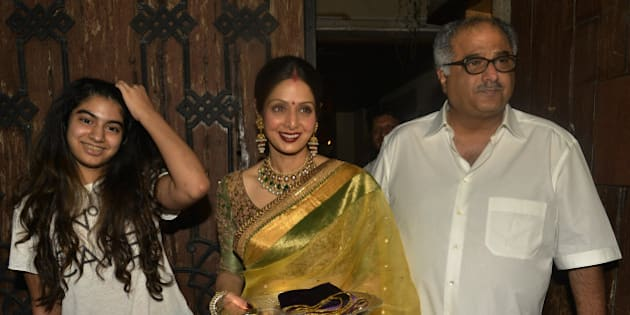 MUMBAI, INDIA  OCTOBER 11: Sridevi and Boney Kapoor at Anil Kapoors Karwa Chauth party in Mumbai.(Photo by Milind Shelte/India Today Group/Getty Images)