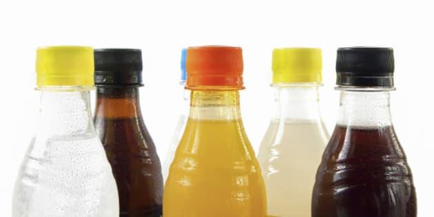 Soda bottles on white background