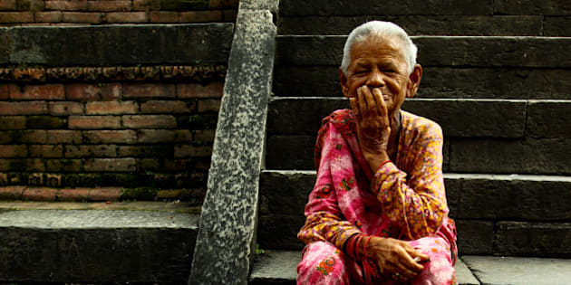 KATHMANDU, NEPAL - 2010/09/14: A portrait of an elderly resident in the Pashupati Bridhashram, the old peoples' home is the largest of its type in Kathmandu, home to 190 women and 130 men. (Photo by Probal Rashid/LightRocket via Getty Images)