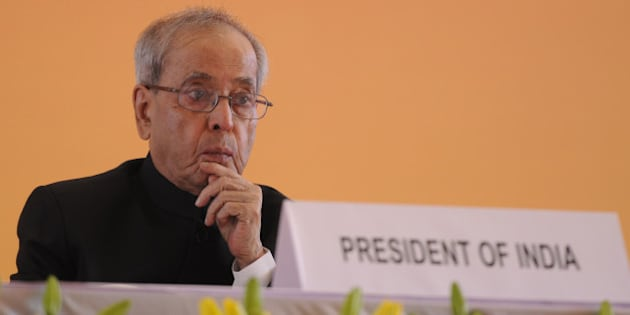 NEW DELHI, INDIA - NOVEMBER 14: President Pranab Mukherjee during the inauguration of the 35th Indian International Trade Fair 2015 at Pragati Maidan on November 14, 2015 in New Delhi, India. The two-week exposition concludes on November 27, with the first five days reserved exclusively for business visitors. Over 7,000 firms from India and overseas are participating in the fair. (Photo by Sonu Mehta/Hindustan Times via Getty Images)