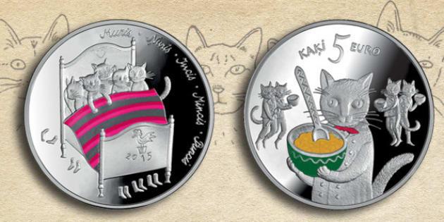 ラトビアで誕生した猫の銀貨が可...
