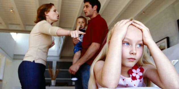 Parents fighting and daughter distressed