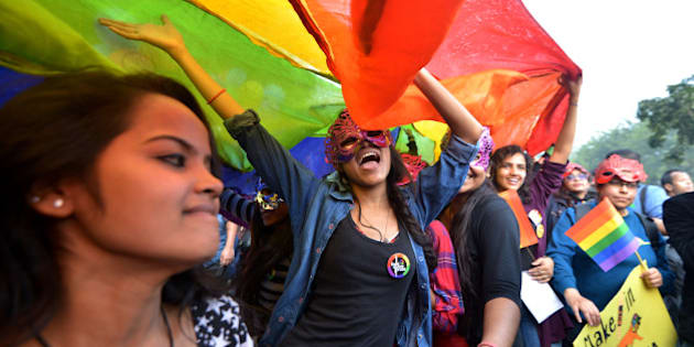 NEW DELHI, INDIA  NOVEMBER 30: Members and supporters of the Lesbian, Gay, Bisexual, Transgender (LGBT) community at the eighth Delhi Queer Pride parade in New Delhi.(Photo by K.Asif/India Today Group/Getty Images)
