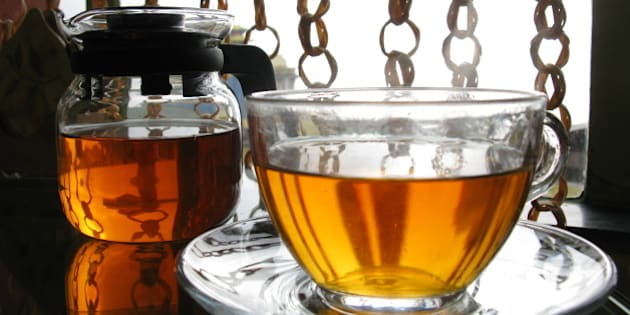 A gourmet cup of tea is served in one of the tea-houses of Darjeeling town, West-Bengal, India.