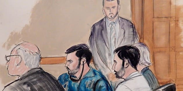In this courtroom sketch, a U.S. marshall stands guard in the background as defense attorney John Reilly, left, Francisco Flores, center in blue shirt, Efrain Campos, second from right, and defense attorney Rebekah Poston make an initial appearance in Manhattan federal court on Thursday, Nov. 12, 2015, in New York. An indictment unsealed on Thursday accuses Campos and Flores, nephews of Venezuela's first lady, of conspiring to smuggle cocaine into the United States. (AP Photo/Elizabeth Williams)