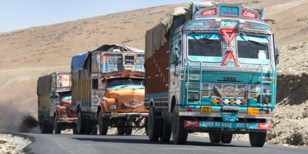 Decorated trucks on Leh-Manali Highway