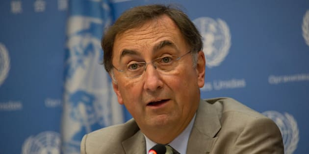 UNITED NATIONS, NEW YORK, NY, UNITED STATES - 2015/09/17: Janos Pasztor answers a question at the press briefing. Janos Pasztor, the UN Assistant Secretary-General on Climate Change, and Amina Mohammed, the Secretary-General's Special Advisor on Post-2015 Development Planning, participated in a press conference covering an array of interrelated topics, ranging from the relationship of climate change to refugee situations globally to the upcoming Paris Conference on climate change. (Photo by Albin Lohr-Jones/Pacific Press/LightRocket via Getty Images)
