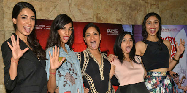 MUMBAI,INDIA  NOVEMBER 30: Anushka Manchanda, Sarah-Jane Dias, Sandhya Mridul, Tannishtha Chatterjee and Amrit Maghera at the screening of their movie Angry Indian Goddesses in Mumbai.(Photo by Milind Shelte/India Today Group/Getty Images|