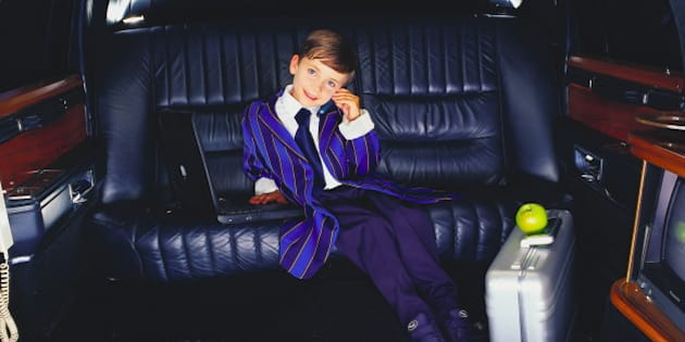 Boy in limousine