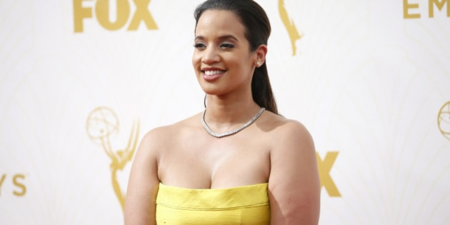 IMAGE DISTRIBUTED FOR THE TELEVISION ACADEMY - Dascha Polanco arrives at the 67th Primetime Emmy Awards on Sunday, Sept. 20, 2015, at the Microsoft Theater in Los Angeles. (Photo by Danny Moloshok/Invision for the Television Academy/AP Images)