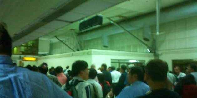 This was the queue, if you can call it that, for passport control.