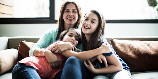 portrait of mother and daughters