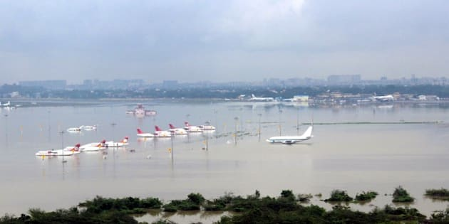 CHENNAI, INDIA - DECEMBER 2 :  An aerial view of submerged Chennai airport taken by the Indian Air Force helicopter, following heavy rains in the region on December 02, 2015, in this handout picture provide by Press Information Bureau. (Photo by Press Information Bureau       /Anadolu Agency/Getty Images)