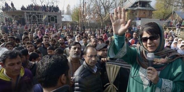Srinagar, INDIA  DECEMBER 18: Mehbooba Mufti during Public Meeting Sonbar at Srinagar, Jammu and Kashmir.(Photo by Chandradeep Kumar/India Today Group/Getty Images)