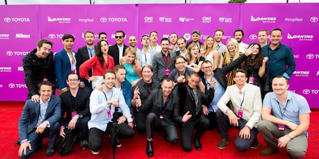 SYDNEY, AUSTRALIA - DECEMBER 07:  Filmmaker finalists at Tropfest 2014 on December 7, 2014 in Sydney, Australia.  (Photo by Caroline McCredie/Getty Images for Tropfest)