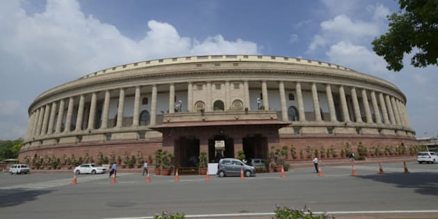 NEW DELHI,INDIA JULY 22: Parliament building in New Delhi.(Photo by Yasbant Negi/India Today Group/Getty Images)