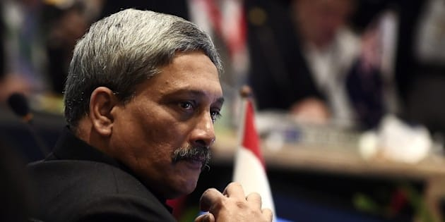 India's Minister of state for Defense Manohar Parrikar takes part in the third Association of Southeast Asian Nations (ASEAN) Defence Ministers-PLUS meeting in Subang on November 4, 2015. A meeting of Asia-Pacific defence ministers has scrapped plans for a joint declaration after the Chinese delegation lobbied to block mention of Beijing's island-building activities in the disputed South China Sea, a US defence official said November 4.    AFP PHOTO / MANAN VATSYAYANA        (Photo credit should read MANAN VATSYAYANA/AFP/Getty Images)
