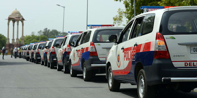 NEW DELHI, INDIA - JUNE 24: PCR vans after they were flagged off by Union Home Minister Sushil Kumar Shinde for Delhi Police during a function at India Gate lawn in New Delhi on Monday. (Photo by Parveen Negi/India Today Group/Getty Images)