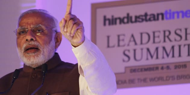 NEW DELHI, INDIA - DECEMBER 4: Prime Minister Narendra Modi speaks on the theme Towards a Brighter Indiaduring the inaugural address at Hindustan Times Leadership Summit on December 4, 2015 in New Delhi, India.  (Photo by Virendra Singh Gosain/Hindustan Times via Getty Images)
