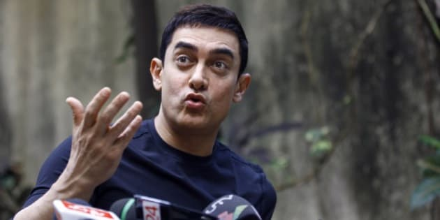 """Bollywood actor Aamir Khan speaks during a press conference to promote his new film """"Talaash,"""" or 'Search', at his residence in Mumbai, India, Tuesday, Dec. 4, 2012. (AP Photo/Rafiq Maqbool)"""