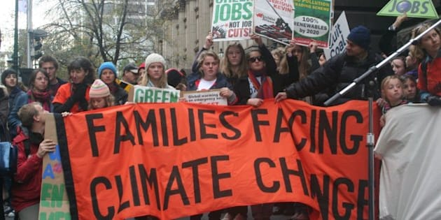 On June 13, 2009 thousands of people rallied for action on Climate Change. On a cold and bleak Melbourne winter day thousands gathered at the State Library where they heard from Greens Senator Bob Brown and 'Climate Codered' author and climate activist David Spratt, and other speakers. Leaving the State Library, people marched down Swanston Street to the front of the Melbourne Town Hall where the crowd was asked to do a sitdown protest. Inside the Town Hall the Victorian State Conference of the Australian Labor Party was meeting. A woman from Tuvalu spoke on the rising seas threat to her country and other low lying nations. Damien Lawson, National Climate Change Co-ordinator for Friends of the Earth spoke on the need for a campaign of popular civil disobedience if politicians continue taking no action or ineffectual action to rapidly decrease carbon emissions. The march then continued to Treasury Gardens.