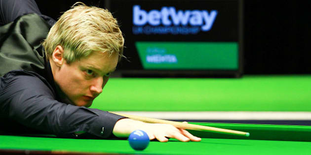 YORK, ENGLAND - NOVEMBER 29:  (CHINA OUT) Neil Robertson of Australia plays a shot in his match against Aditya Mehta of India on day five of Betway UK Championship at Barbican Centre on November 29, 2015 in York, England.  (Photo by ChinaFotoPress/ChinaFotoPress via Getty Images)