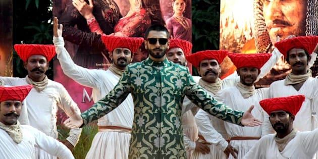 Bollywood actors Ranveer Singh attends a promotional event for the upcoming Hindi film 'Bajirao Mastani' in Mumbai on December 7, 2015. AFP PHOTO / AFP / STR        (Photo credit should read STR/AFP/Getty Images)