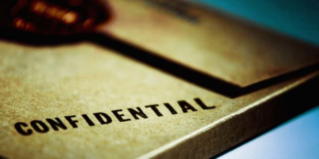 Close-up of a confidential envelope