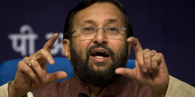 """Prakash Javadekar, Indian Environment Minister, addresses a press conference in New Delhi, India, Monday, Aug. 24, 2015. Javadekar said that India would soon share its plans for dealing with climate change, but suggested it would not commit to curbing emissions by a certain year, saying """"nobody in the world has actually asked us for this."""" India is the third-largest carbon-emitting country, after China and the U.S. (AP Photo/Saurabh Das)"""