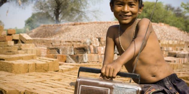 Indian child with radio