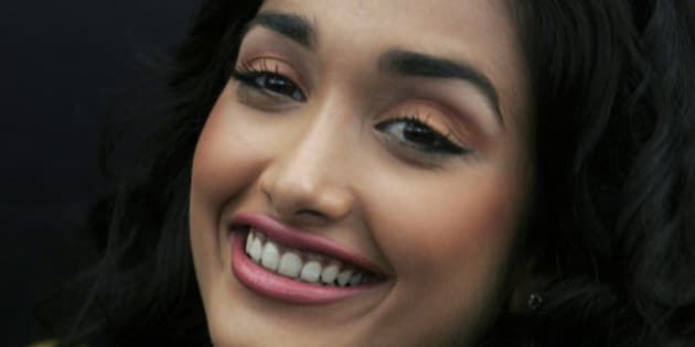 """FILE - In this Dec. 19, 2008 file photo, Bollywood actress Jia Khan smiles during a promotional event of her forthcoming Hindi movie """"Ghajini"""" in Bangalore, India. Police said the son of a Bollywood couple was arrested Monday, June 10, 2013 on suspicion of abetting the suicide of Khan. (AP Photo/Aijaz Rahi, File)"""