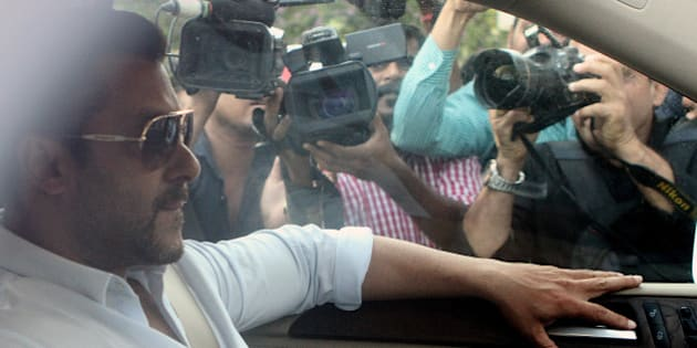 MUMBAI, INDIA - MAY 8: Bollywood actor Salman Khan arrives at sessions court for the bail bond for the hit and run case on May 8, 2015 in Mumbai, India. Bollywood superstar furnished a bail bond of Rs 30,000 in the Mumbai Sessions Court, before returning to his Bandra home. (Photo by Arijit Sen/Hindustan Times via Getty Images)