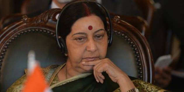 Indian Foreign Minister Sushma Swaraj attends the first day of the Heart of Asia conference in Islamabad on December 9, 2015. Afghan president Ashraf Ghani arrived in Islamabad on December 9, 2015 hoping to revive peace talks with the resurgent Taliban, as he opened a regional conference that has taken on added significance with the attendance of India's top diplomat.   AFP PHOTO / POOL / AAMIR QURESHI / AFP / POOL / AAMIR QURESHI        (Photo credit should read AAMIR QURESHI/AFP/Getty Images)