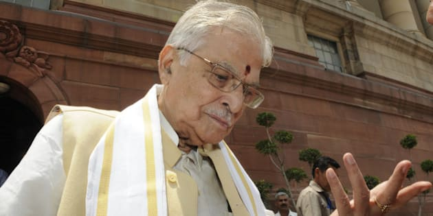 NEW DELHI, INDIA - JULY 23: Senior BJP leader and MP from Kanpur Murli Manohar Joshi comes out of Parliament House after the Lok Sabha was adjourned on the 3rd day of the Monsoon Session of Parliament on July 23, 2015 in New Delhi, India. The logjam between the opposition and the Modi government over the resignations of a Union minister and two chief ministers crippled functioning of Parliament for the third straight day. (Photo by Sonu Mehta/Hindustan Times via Getty Images)