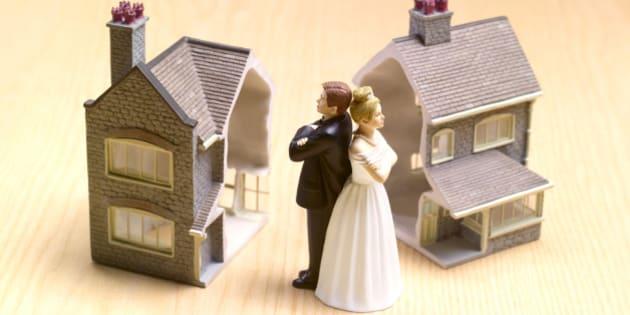 Divorce settlement house cut in half.